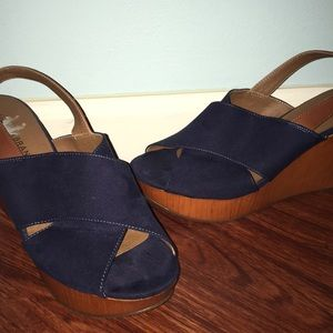 Lucky Brand Navy Blue Faux Suede Wedges